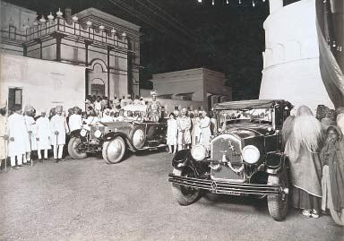 The Maharaja of Vizianagaram's Rolls-Royce Silver Ghost, seen here at a Royal Wedding in Hyderabad, was customised into the shape of a boat, as he wanted an auspicious car to ferry the family deity in ceremonial processions. The maharaja also had the car built with a silver body instead of steel, which was considered unlucky.
