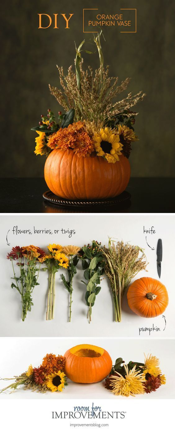 Here Youll Find A Unique DIY Thanksgiving Centerpiece That Is Easy And Fun To Make Just Scoop Out Pumpkin Fill It With Fresh Flowers Twigs