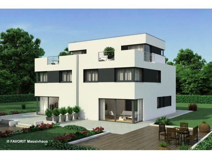 Finesse 166 - #Doppelhaus von Bau Braune Inh. Sven Lehner   HausXXL #Massivhaus #Energiesparhaus #Nullenergiehaus #Bauhausstil #Flachdach