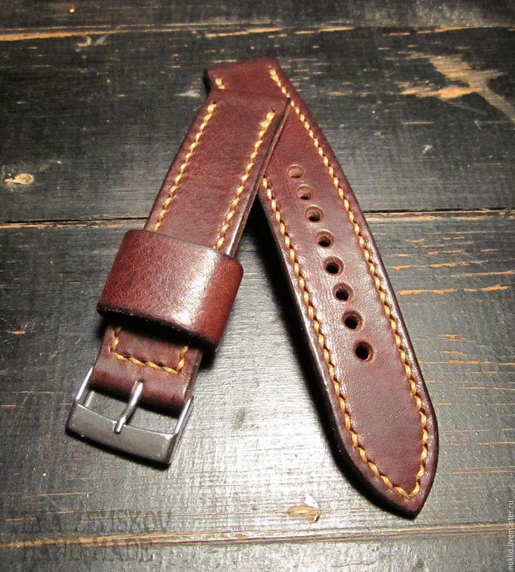 Купить Кожаный ремешок для часов - коричневый, кожа, кожа натуральная, натуральная кожа, кожаный ремешок