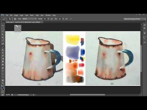 7.2 Watercolor Painting In Photoshop - Demo Traditional v. Digital Part 2. Video 7.2 - YouTube