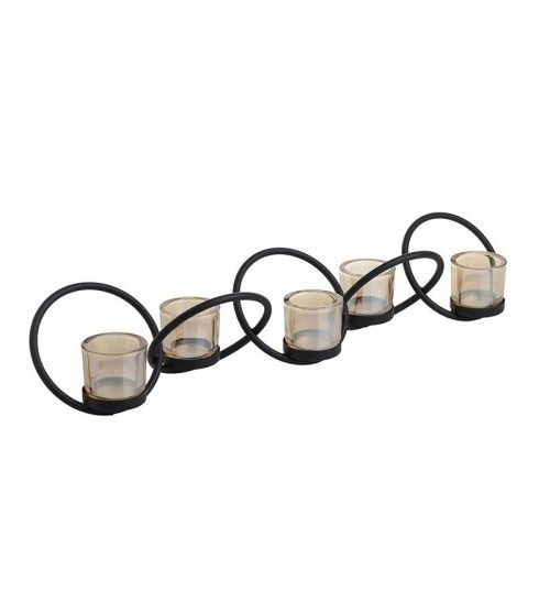 METALLIC_GLASS CANDLE HOLDER W_5  SECTIONS 60_5X12X11
