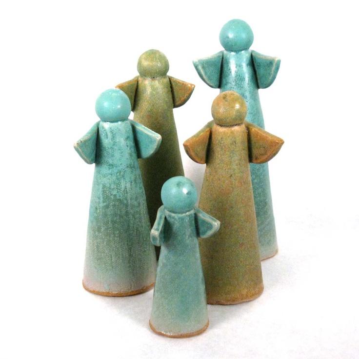 Stoneware pottery angels - Crooked Creek Studio