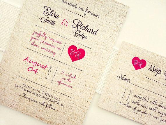 Wedding Invitations Elegant Rustic Romantic Lace   BURLAP LACE INVITATIONS  On Etsy, $2.00