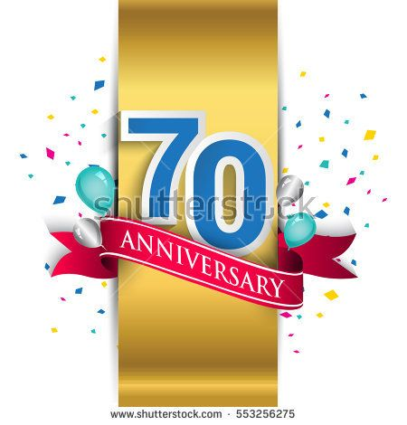 70th anniversary logo with gold label and red ribbon, balloons, confetti. seventy Years birthday Celebration Design for party, and invitation card