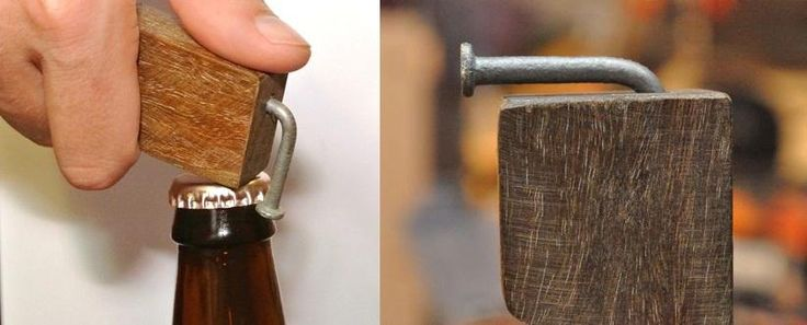 A nail, a magnet, and a block of wood make for a super simple bottle opener that anyone can put together. Paired with a six pack, it's a great gift for the beer lover in your life! #DIY