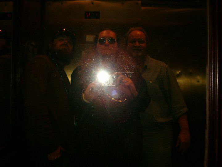 Ronnie, his cousin Ryan & Ron Sr. in the elevator ~ Hotel on Bourbon Street ~ Mardi Gras ~ New Orleans 2010