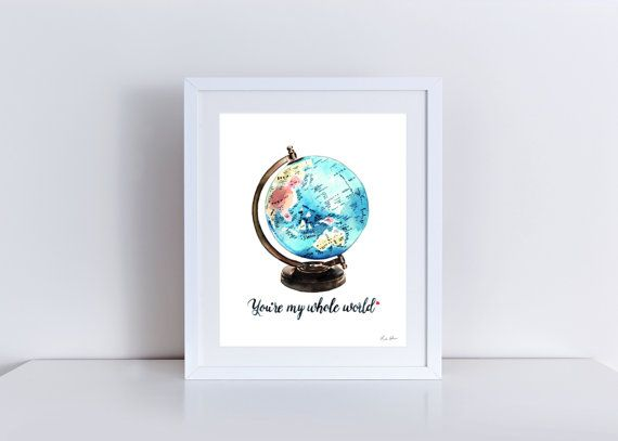 Vintage Globe Art mijn hele wereld Globe van LauraRowStudio op Etsy