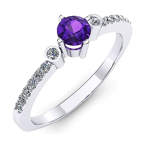 Inel de logodna cu un ametist rotund si diamante