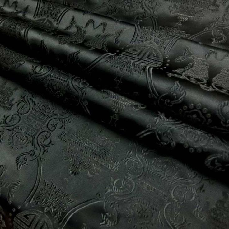 Chinese brocade fabric black on black twin fish and longvity Embroidery Embroidered Dress Material By 0.5 or  Full Yard Meter(cbs-513 Black) by SofaCushionCovers on Etsy https://www.etsy.com/listing/153521953/chinese-brocade-fabric-black-on-black