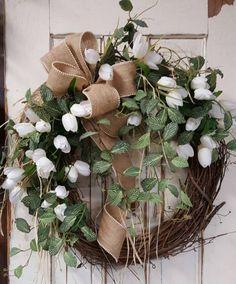 Front door wreath, home decor wreath, tulips and Greenery Wreath, tulips, Everyday Burlap Wreath, Door Wreath, Front Door Wreath by FarmHouseFloraLs on Etsy