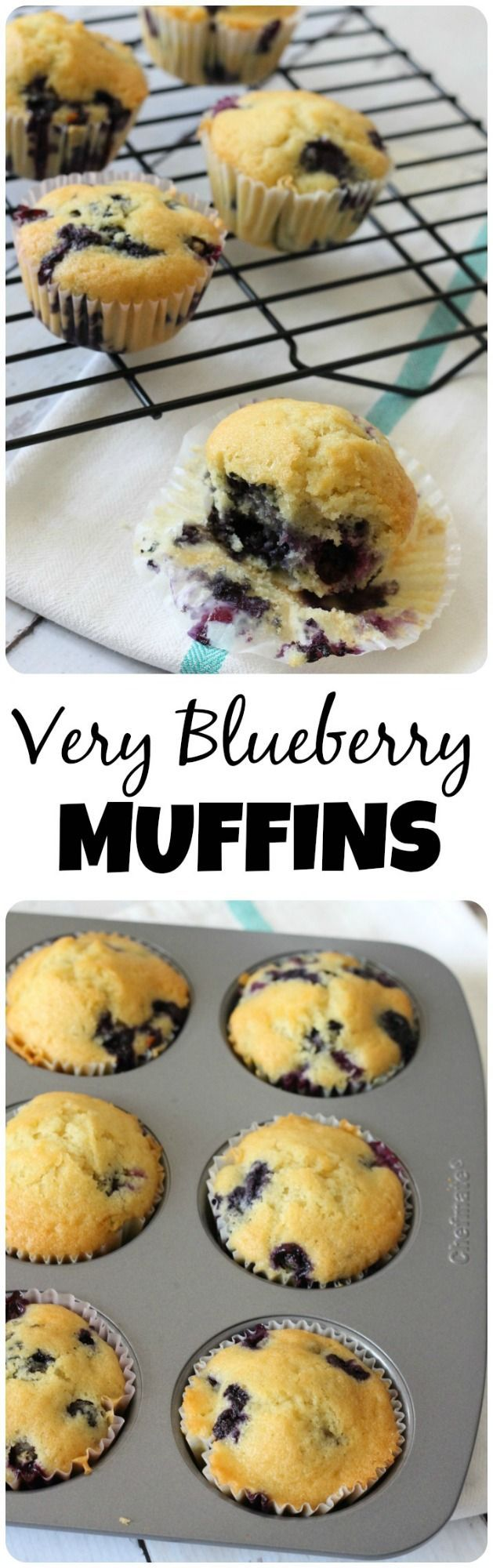 This blueberry muffins recipe is very moist with a lot less butter than traditional blueberry muffin recipes.