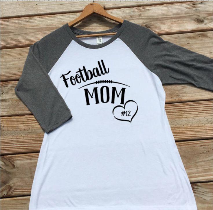 Personalized Football Mom Shirt, Raglan, Baseball Tee Women, White Shirt, Sports Mom Shirts, Football Clothing, Mom Clothes, Size S-XXL by ForeverStrongApparel on Etsy https://www.etsy.com/listing/450355172/personalized-football-mom-shirt-raglan