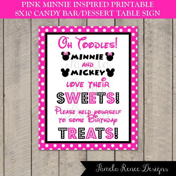 instant download minnie mouse inspired 8x10 sweets sign by