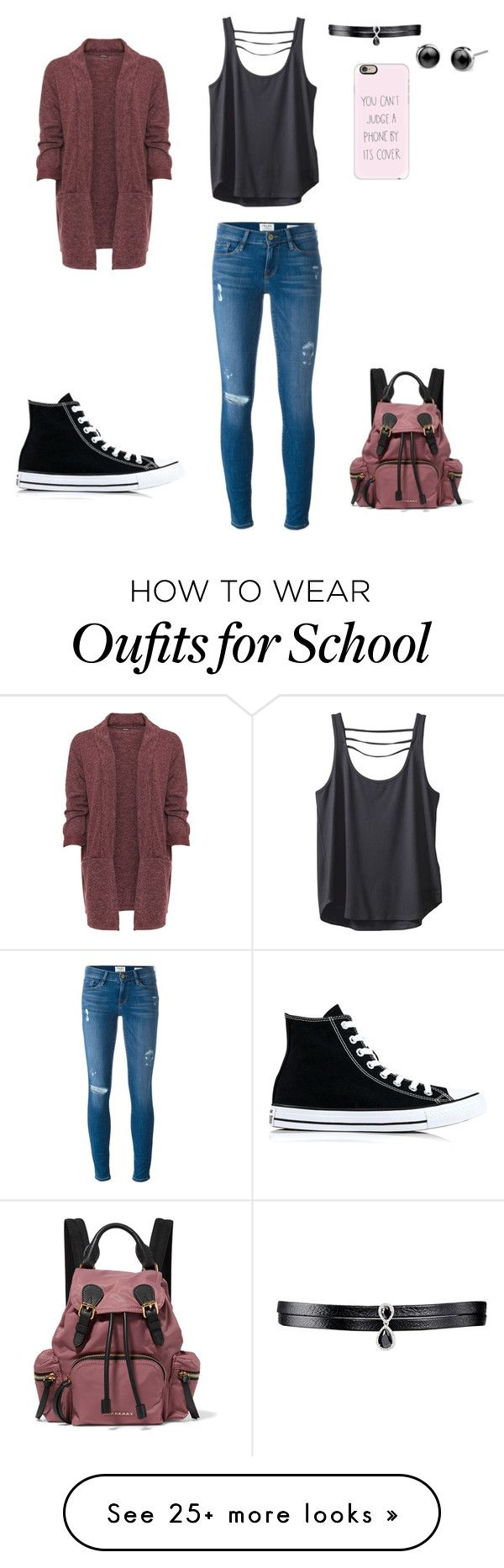 """Back to school"" by ear1993 on Polyvore featuring Kavu, WearAll, Frame Denim, Converse, Burberry, Fallon, Casetify and plus size clothing"