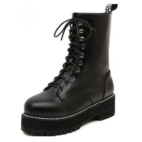 Black Leather Lace Up Punk Thick Sole Military Women Boots Shoes ($60) ❤ liked on Polyvore featuring shoes, boots, punk boots, black military style boots, military shoes, black leather lace up shoes and kohl boots