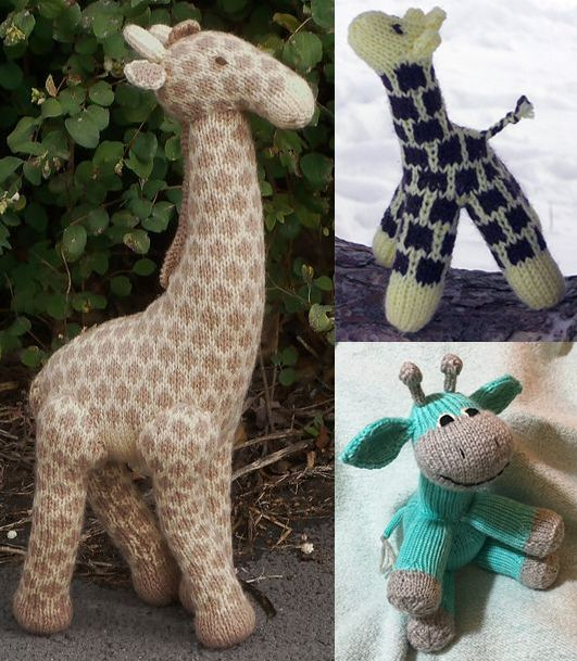 Free Knitting Patterns for Giraffe Toys - Congratulations to #ApriltheGiraffe and her new baby! As I write this the baby is already standing and trying to take some wobbly steps. Give someone you know their own giraffe baby to love with these free knitting patterns. Links at http://intheloopknitting.com/wild-animal-knitting-patterns/