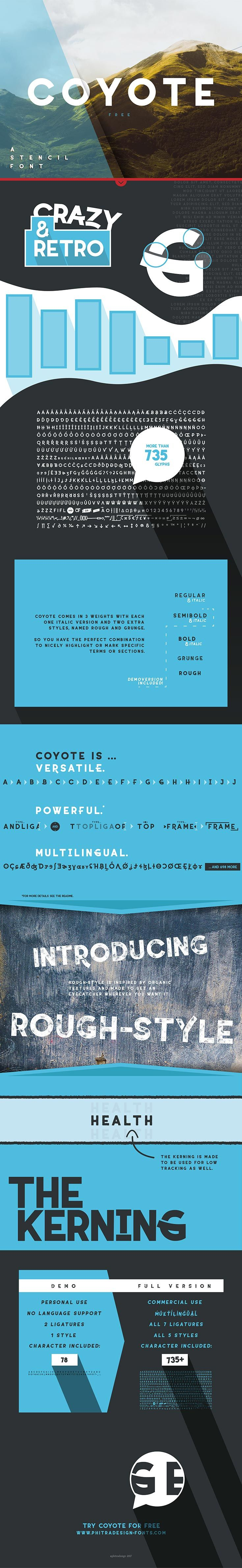 #Free Coyote #Sans #Serif Font is a fancy retro font with sharp edges to emphasize the calm character of the font. Or you go crazy with the alternative letters.