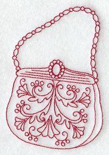 Victorian Tapestry Handbag (Redwork)