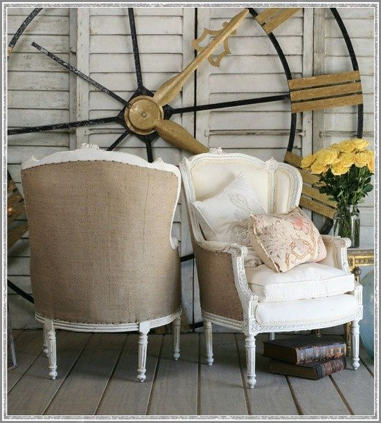 Burlap chairs…hmmm!  When I slipcover my Living Room Chairs in White Denim…I should do the backs of them in Burlap!!!