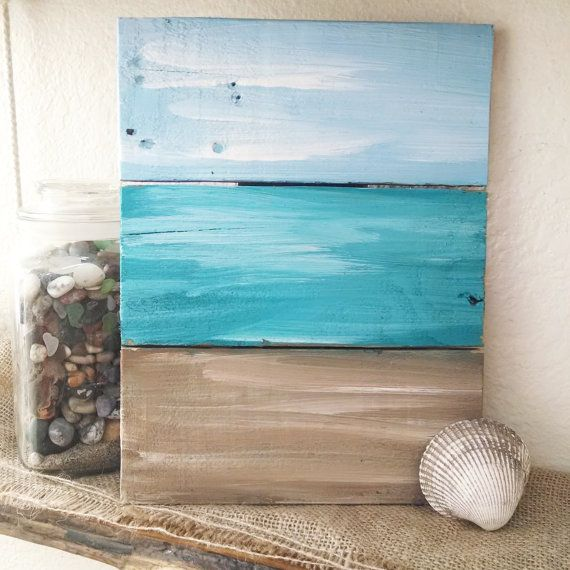 Rustic nautical pallet board art  ocean signs by EdisonAvenue