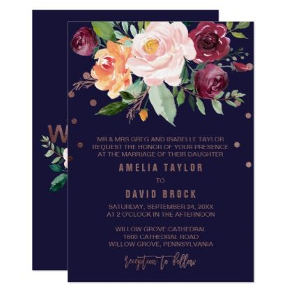 Autumn Floral Rose Gold Formal Wedding Card - autumn wedding diy marriage customize personalize couple idea individuel