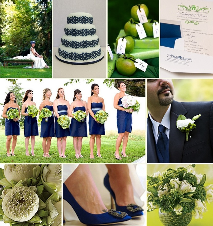 Navy Blue And Green Wedding Color Scheme