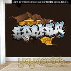 graffiti de nombre en pared rota cuarto dormitorio juvenil adolescente infantil niño niña decoración decorar mural personalizado vinilo Madrid Barcelona Yayaprint