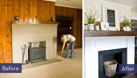 25 best images about wood paneling make overs on pinterest for Fireplace renovations before and after