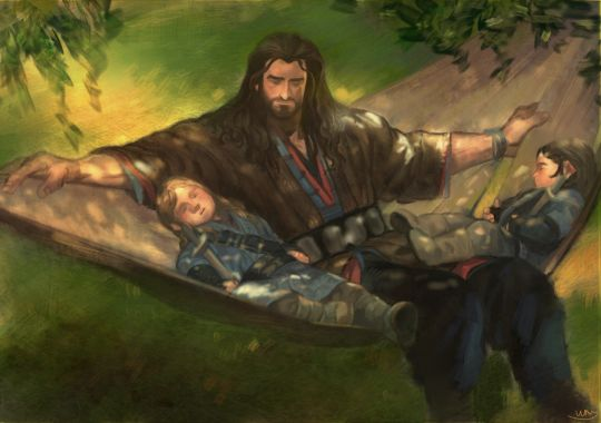 Thorin with little Fili and Kili <3 :D                                                                                                                                                                                 More