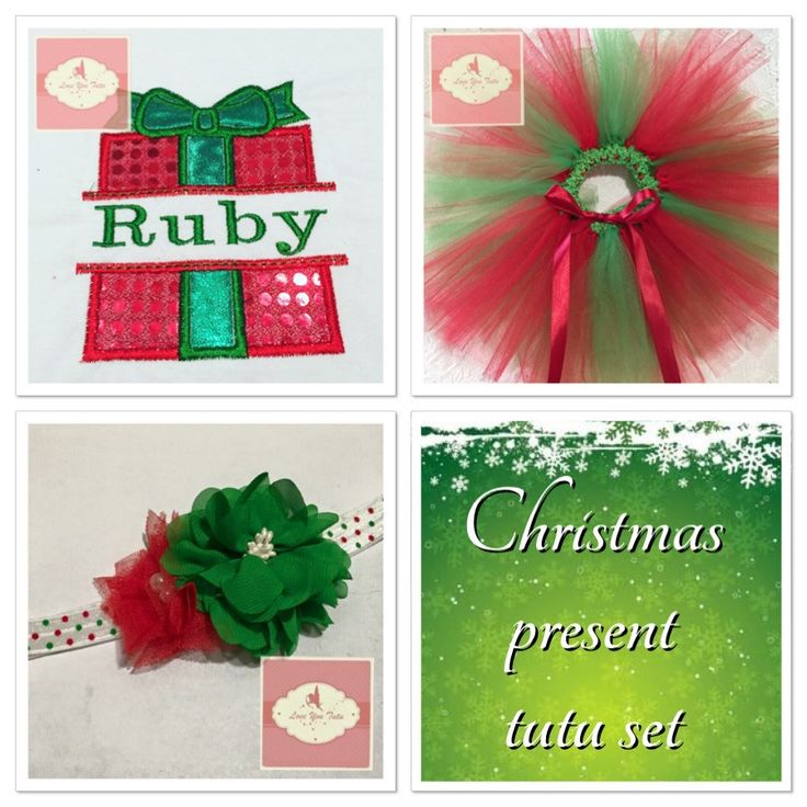 Embroidered personalized Christmas present tutu set