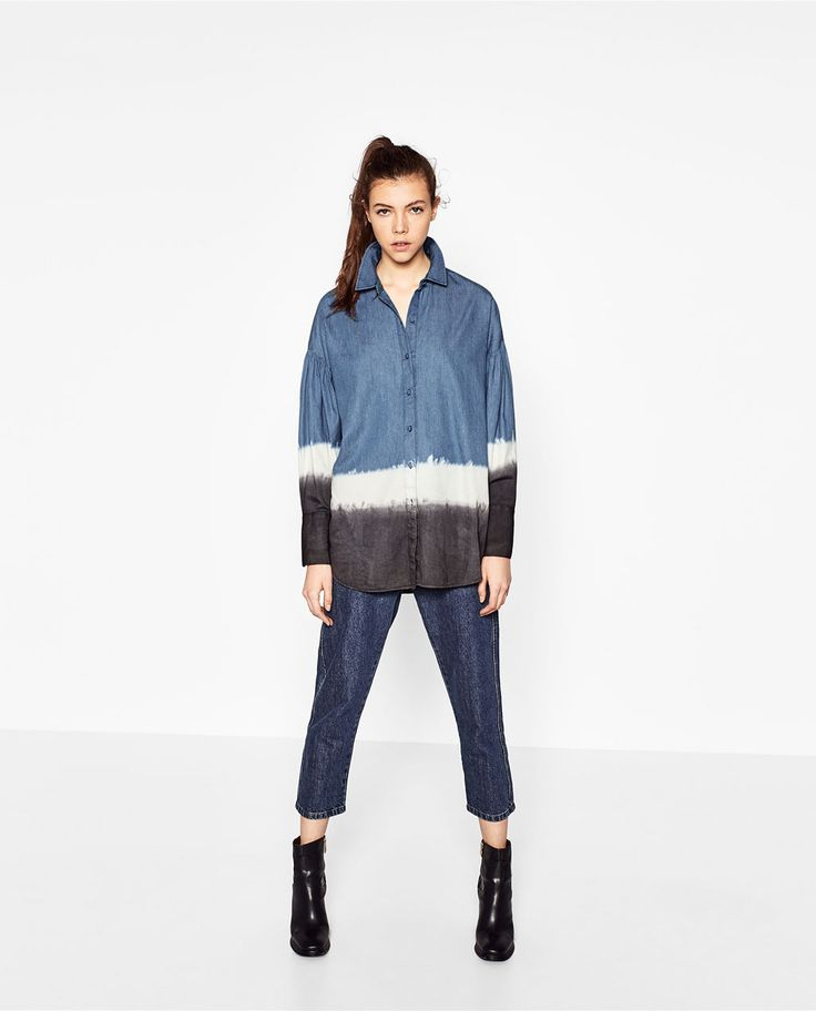 Image 1 of TIE-DYE DENIM SHIRT from Zara