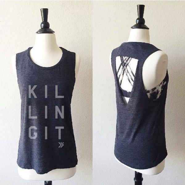 KILLING IT Raw Cut-Out Back Muscle Tee in Charcoal /Grey ,Workout Top,... ($27) ❤ liked on Polyvore featuring muscle tank