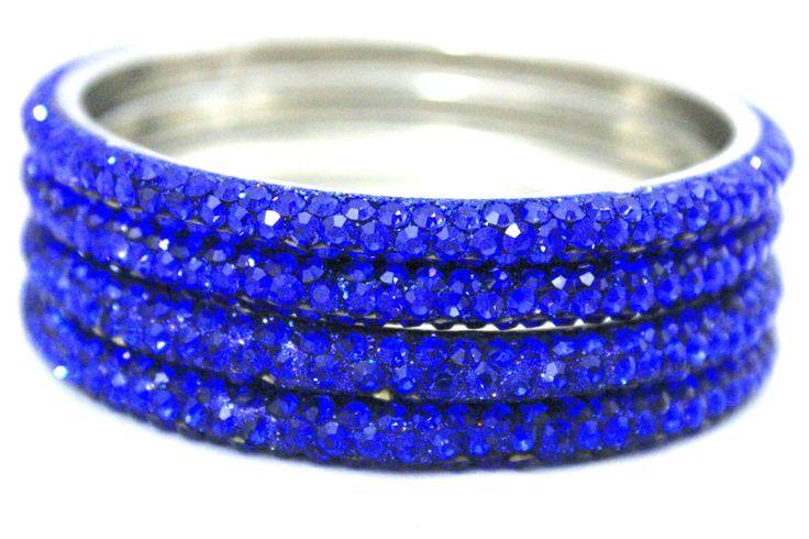 Indian Handmade Jewellery Crystals 3 Line Wedding Blue Metal Bangles Bracelets #mycrystalbanglesdotcom #Bangle