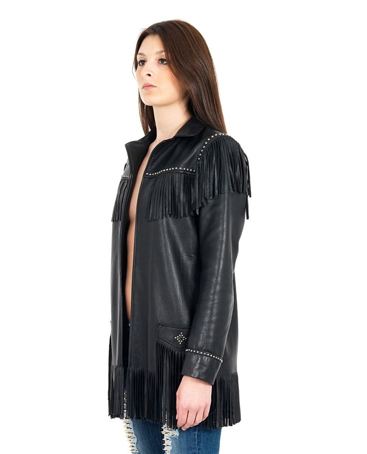 HTC Black leather jacket front and back fringes front opening long sleeves two front pockets decorated with studs without closure 100% Leather Lining: 100% VI