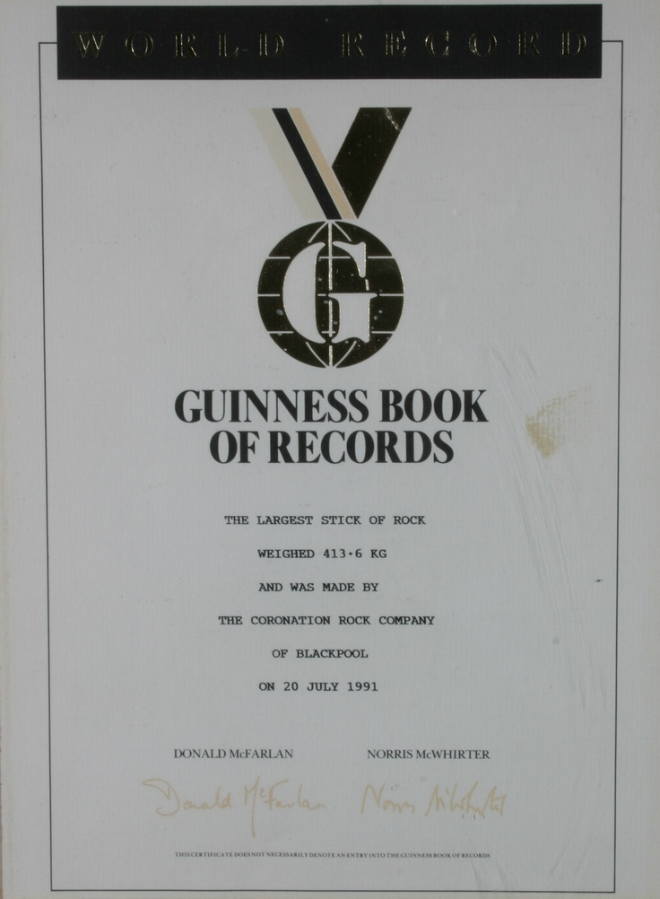 Another of our Guinness World Record certificates