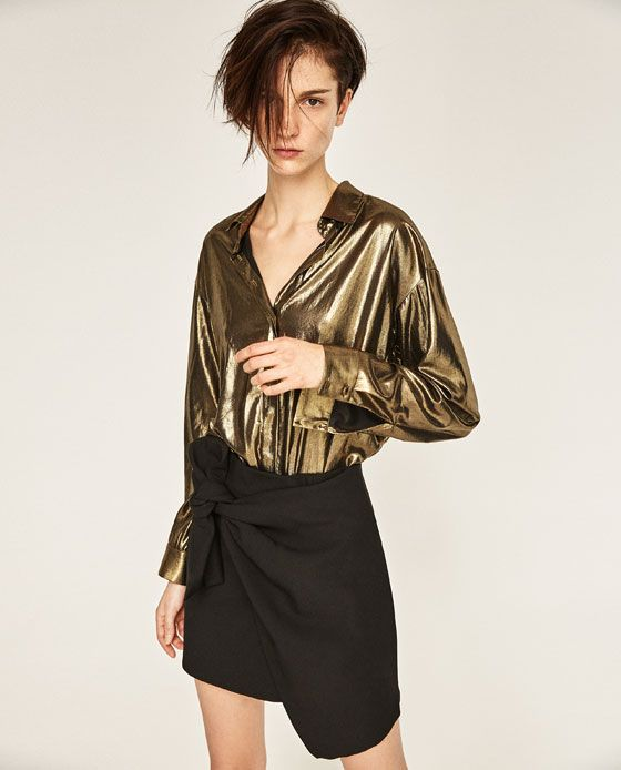 Image 1 of SHIRT WITH FOIL DETAIL ON THE BACK from Zara