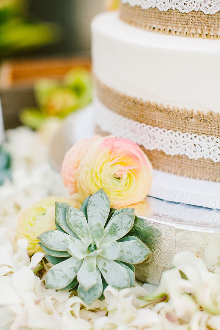 Succulents, burlap and laced cake. Photography by Rebecca Arthurs | rebecca-arthurs.com, Event Planning by Vintage & Lace | vintageandlace.com | Read more - http://www.stylemepretty.com/2013/06/13/hawaii-wedding-from-rebecca-arthurs/