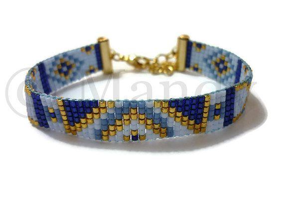 Miyuki pulseras tejidas a mano con cuentas Pulsera oro azul