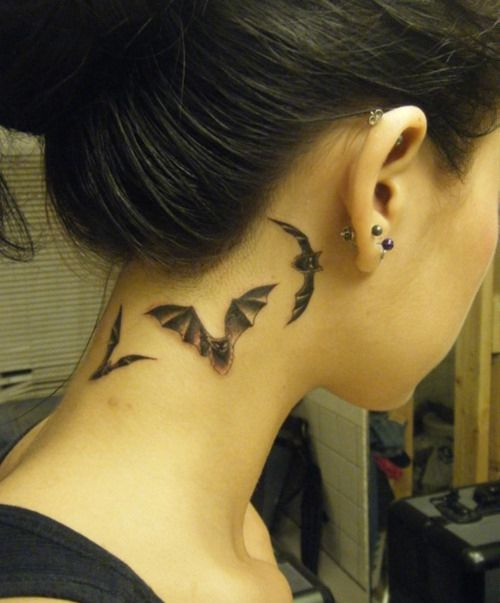 Amazing Bat Tattoo Design on the Neck for Women