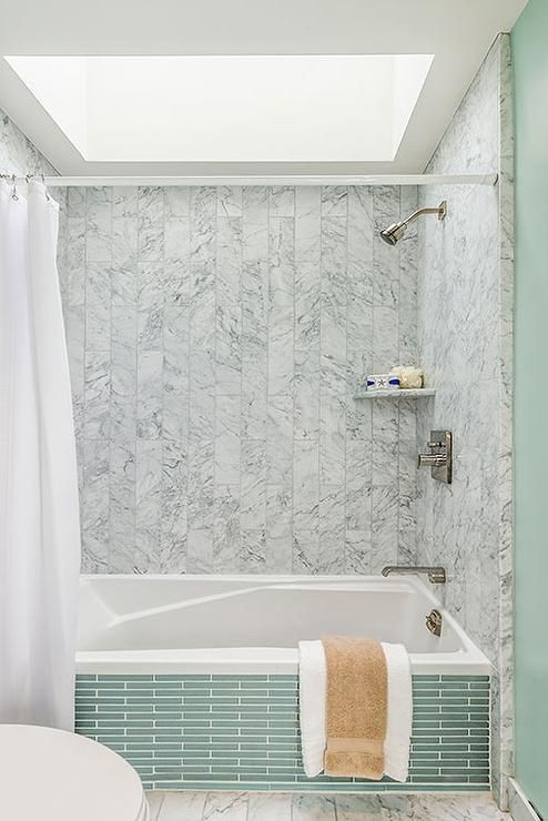Bathroom Remodel Featuring Green Subway Tile Around The Base Of The Tub And B