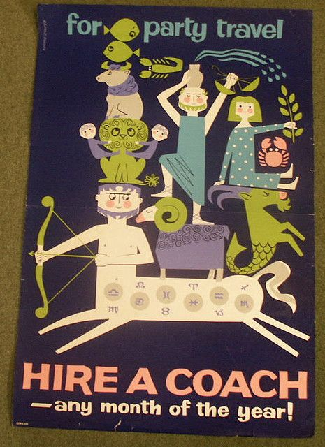 https://flic.kr/p/4nXnnh | For party travel hire a coach | Vintage poster illustrated by Daphne Padden.