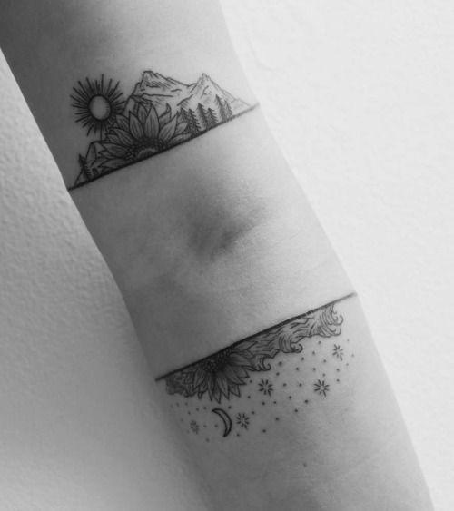 Bicep and forearm landscape tattoos. Tattoo artist: Tara Johnson