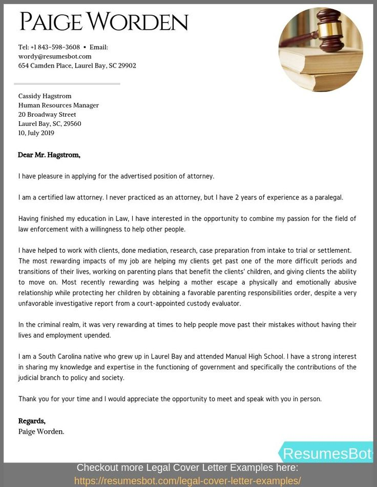 Entry Level Attorney Cover Letter Samples & Templates [PDF