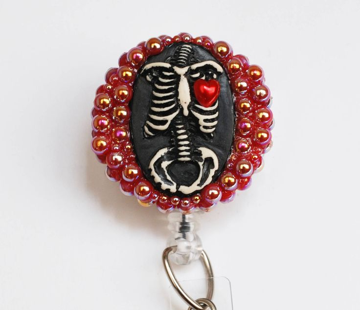 Anatomical Rib Cage Cameo ID Badge Reel - Retractable ID Badge Holder - Zipperedheart by ZipperedHeart on Etsy