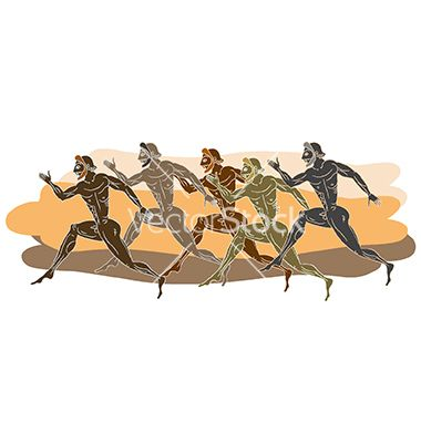 Ancient greek runners vector