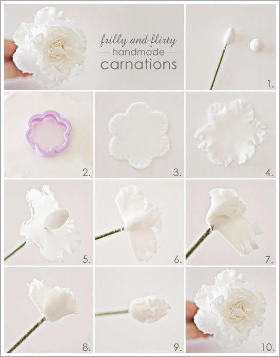 Créer une pivoine blanche en pâte fimo | Bijoux sucrés, Bijoux fantaisie, Bijoux gourmands, Pâte Fimo, Nail Art et Miniatures gourmandes