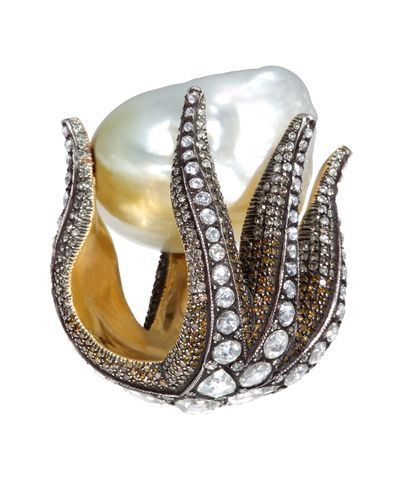 Sevan Bicakci Starfish Diamond and Pearl Ring  OMG.
