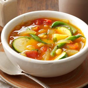Summer Vegetable Soup Recipe -This vegetable soup is loaded with garden goodness, from zucchini and green beans to celery and potato, but it's the turmeric that gives it a tasty new twist. —Edith Ruth Muldoon, Baldwin, New York