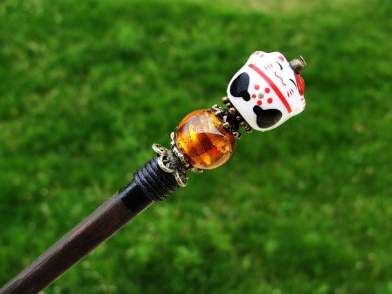 Wooden japanese hair stick and maneki neko fortune lucky cat ceramic bead with amber brown murano bead - kanzashi, hairpin, ornament